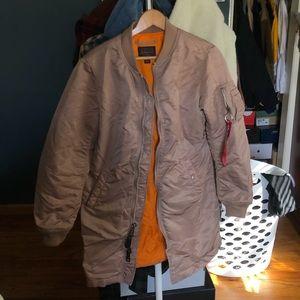 Alpha industries long bomber jacket